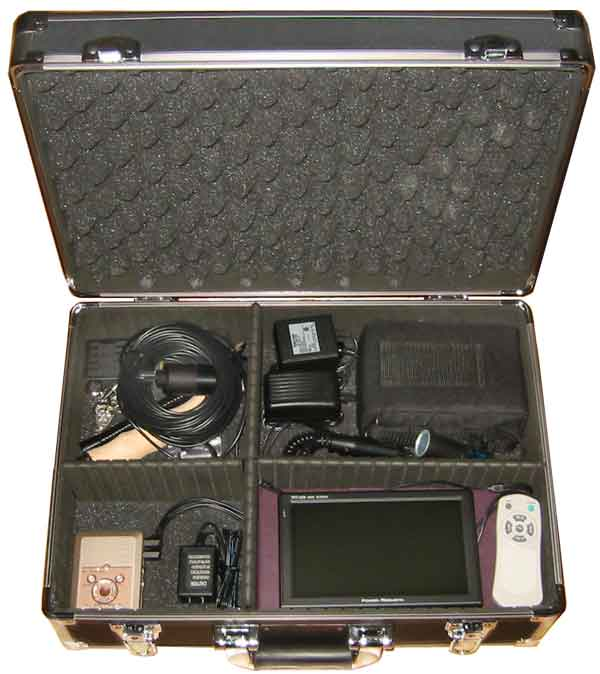 Portable Video Inspection Camera Systems with DVR, monitor, battery & accessories.