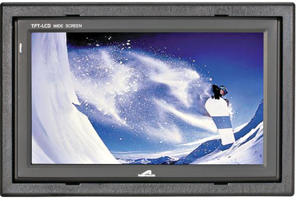 "7"" Widescreen Headrest Monitor1440 x 234 pixel resolution TFT LCD active matrix display.4 screen modes: full, wide, cinema and zoom.Single video input.12 Volt DC operated.NTSC/PAL system.On-screen display.Includes remote, adjustable installation depth headrest shroud and pre-curved headrest adapter"